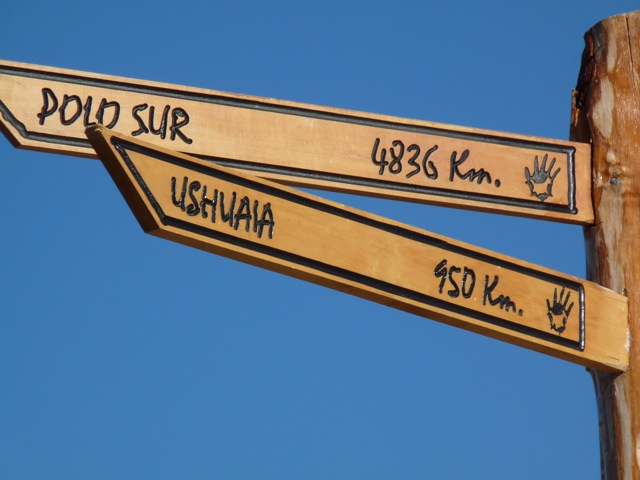 Sign to Ushuaia in Patagonia