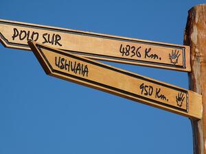 sign to Ushuaia in Tierra del Fuego