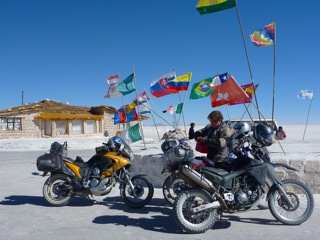 motorcycles in Uyuni Salt Flats