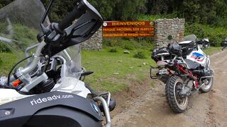 Motorcycles Entering Parque Nacional Los Alerces in Argentina