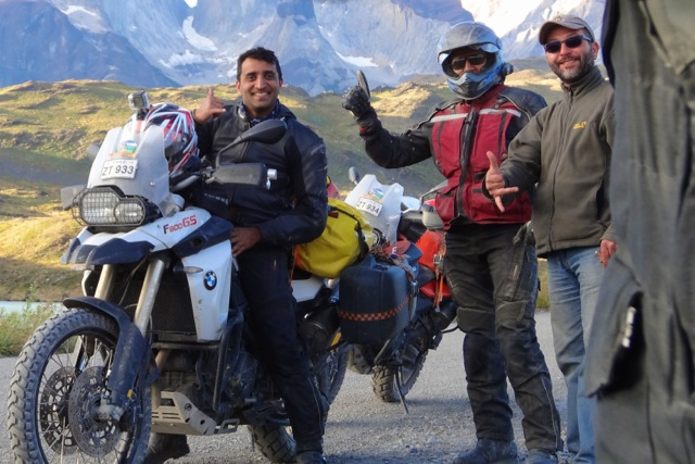 Motorcycle Riders in Front of Torres del Paine National Park