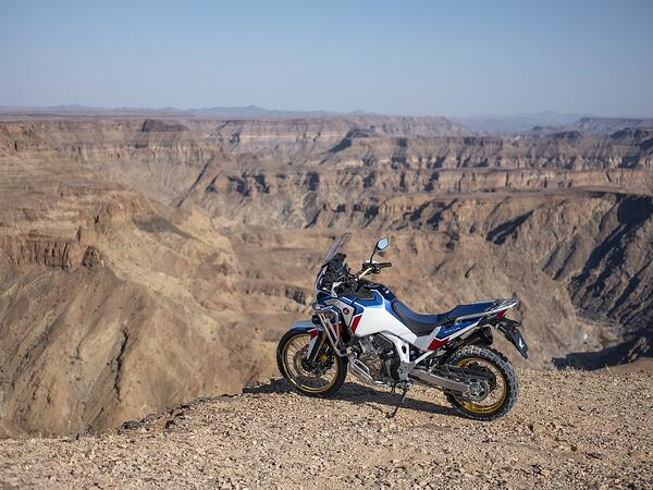 2020 Honda Africa Twin on a viewpoint overlooking a canyon