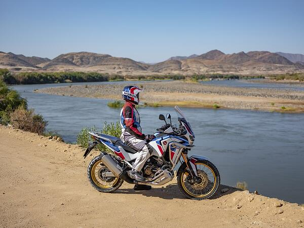 Rider sits staring at the horizon on a 2020 Honda Africa Twin