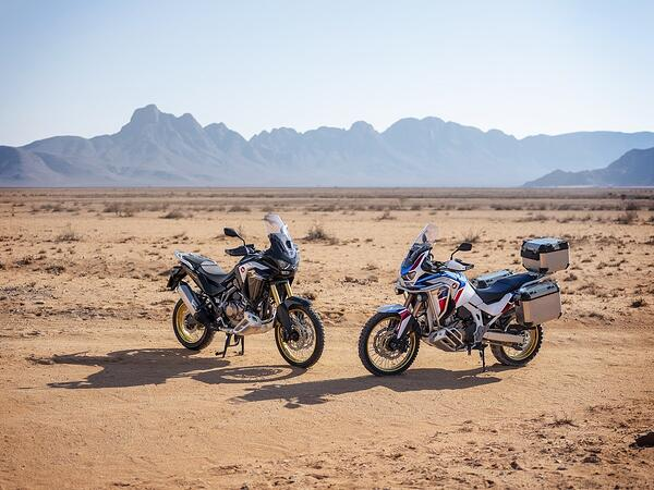 Side by side models of the 2020 Honda Africa. Twin