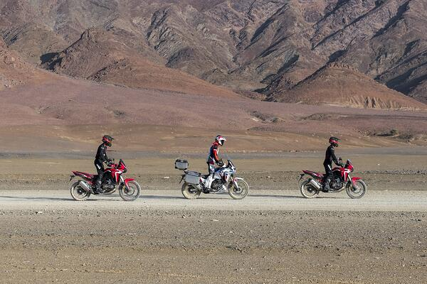 Three riders in a line riding the brand new 2020 Honda Africa Twin
