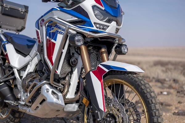 close up front end of a 2020 Honda Africa Twin