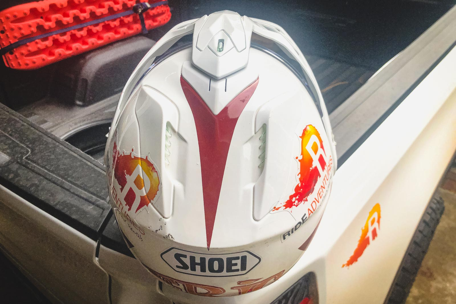 Shoei Hornet X2 from top and behind showing it's rear vents