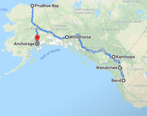 Map for Bend on up to Alaska Prudoe Bay