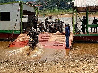 Motorcycle River Crossing Laos
