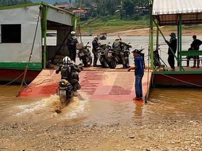 Motorcycle River Crossing Laos