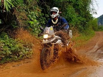 Mud Puddle BMW F800GS Laos