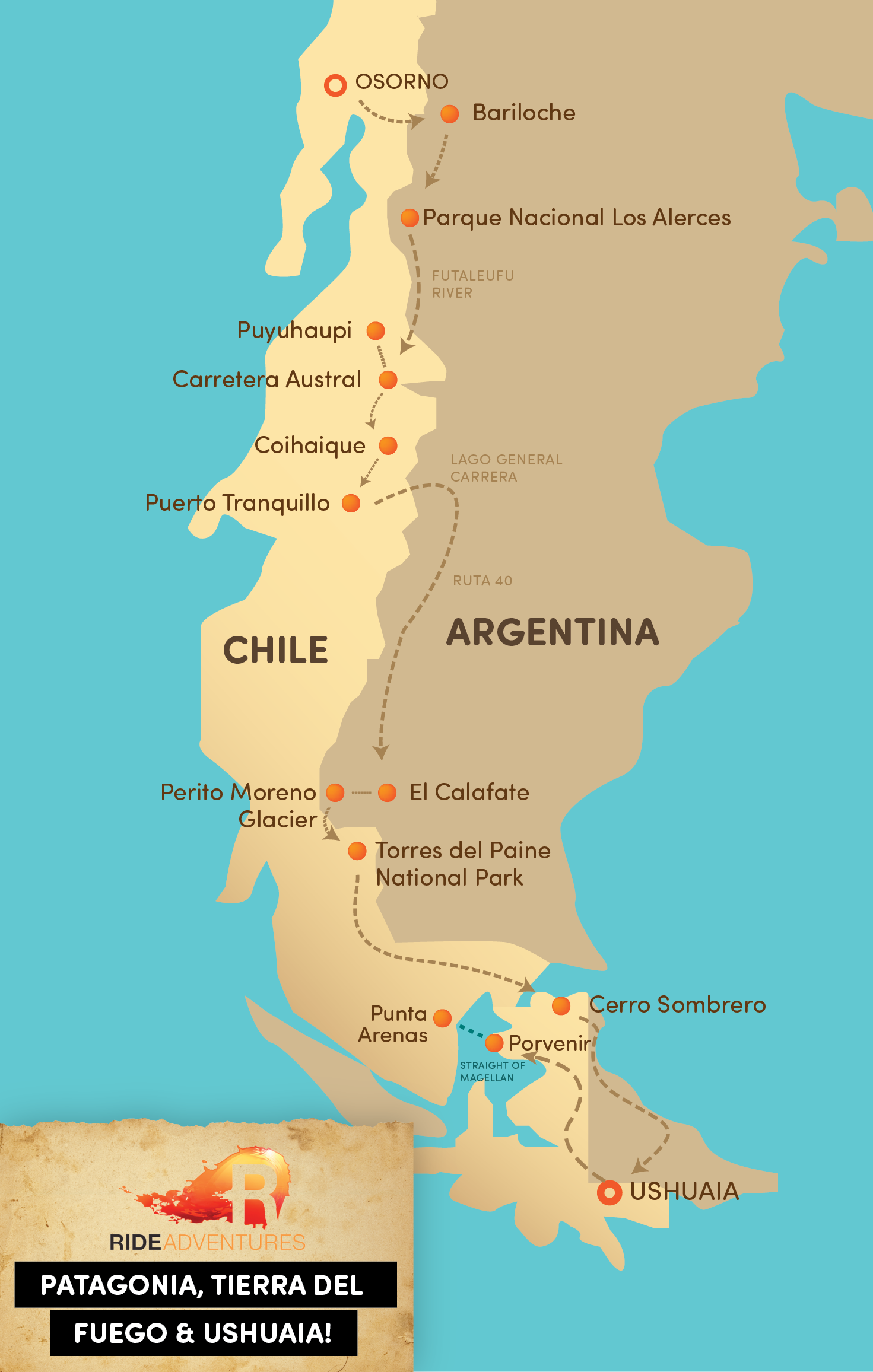 Patagonia Map for Motorcycle Trip