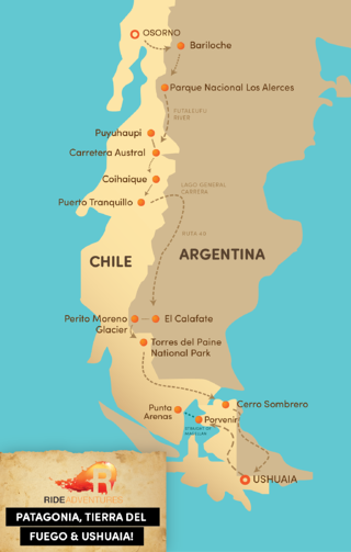 Patagonia Map for Motorcycle Trip