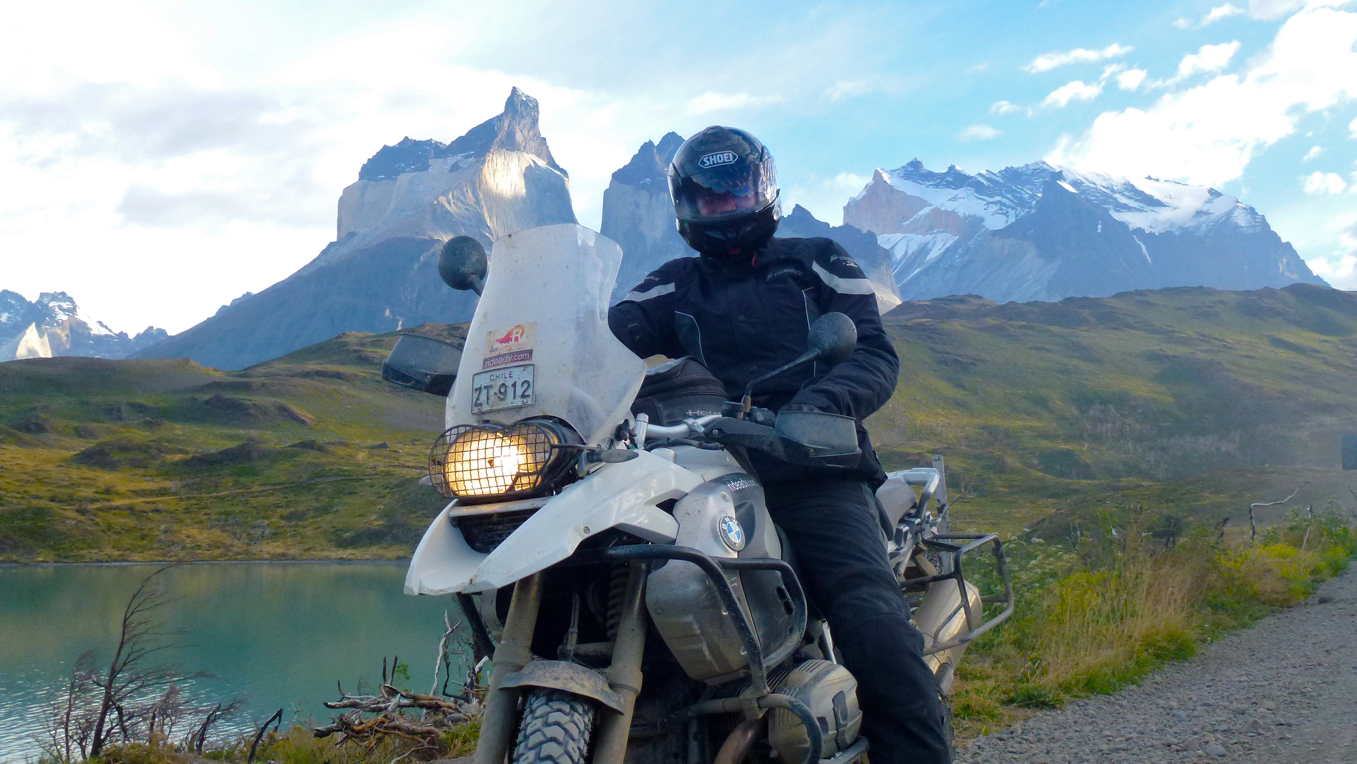 Motorcycle Rider in Torres del Paine National Park