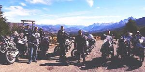 Motorcycle tour group in Chilean Patagonia