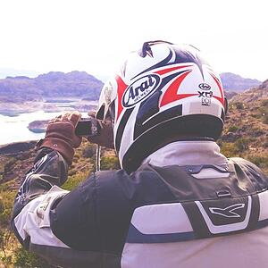 Self Guided Motorcycle Rider taking a photo
