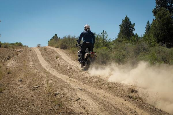 Ripping through a dirt trail in Oregon on the new KTM 790 Adventure