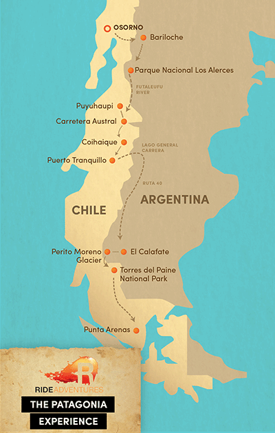 Map of motorcycle route in Patagonia