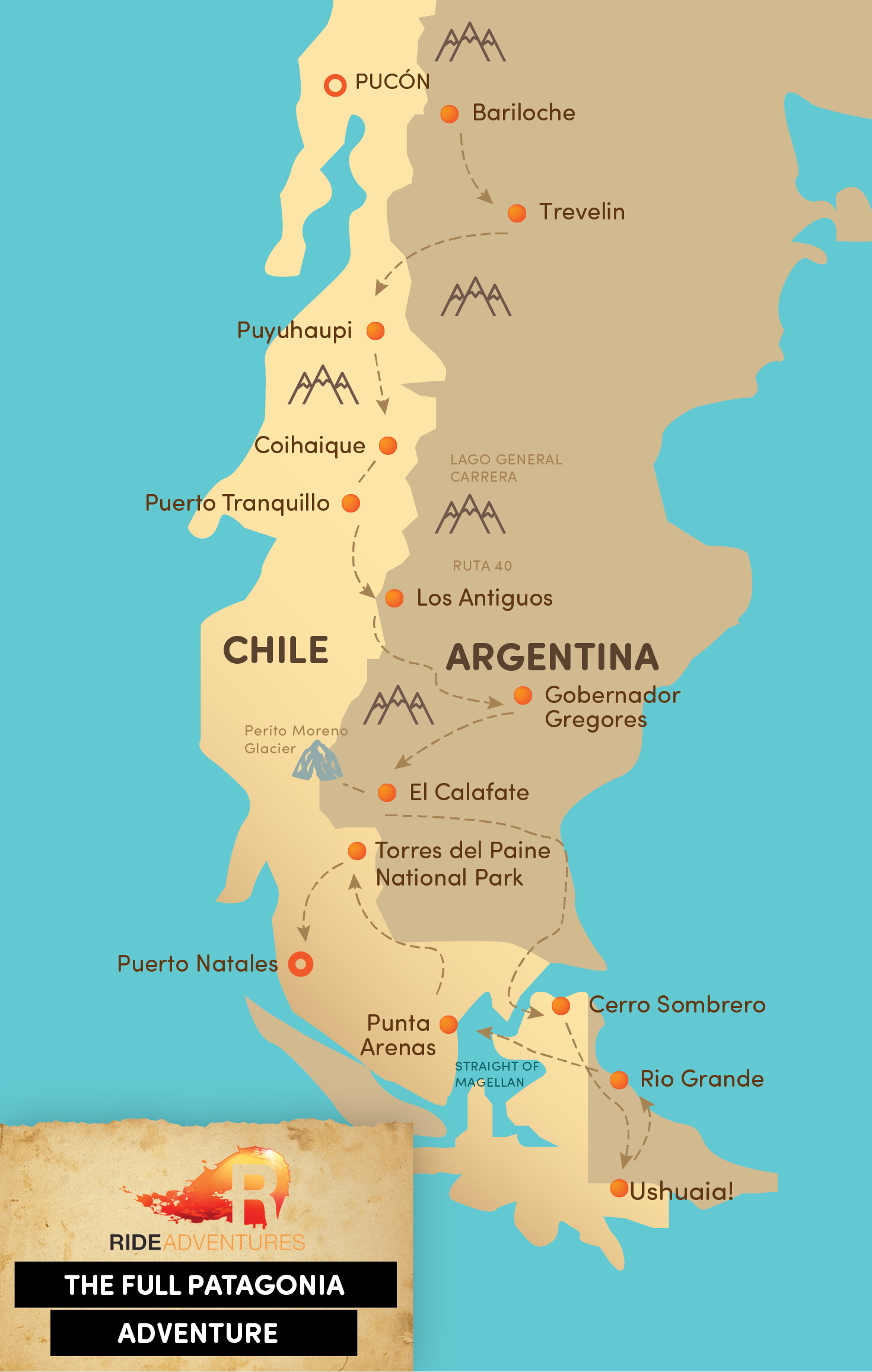 Truck supported motorcycle tour package full patagonia adventure tour map gumiabroncs Image collections