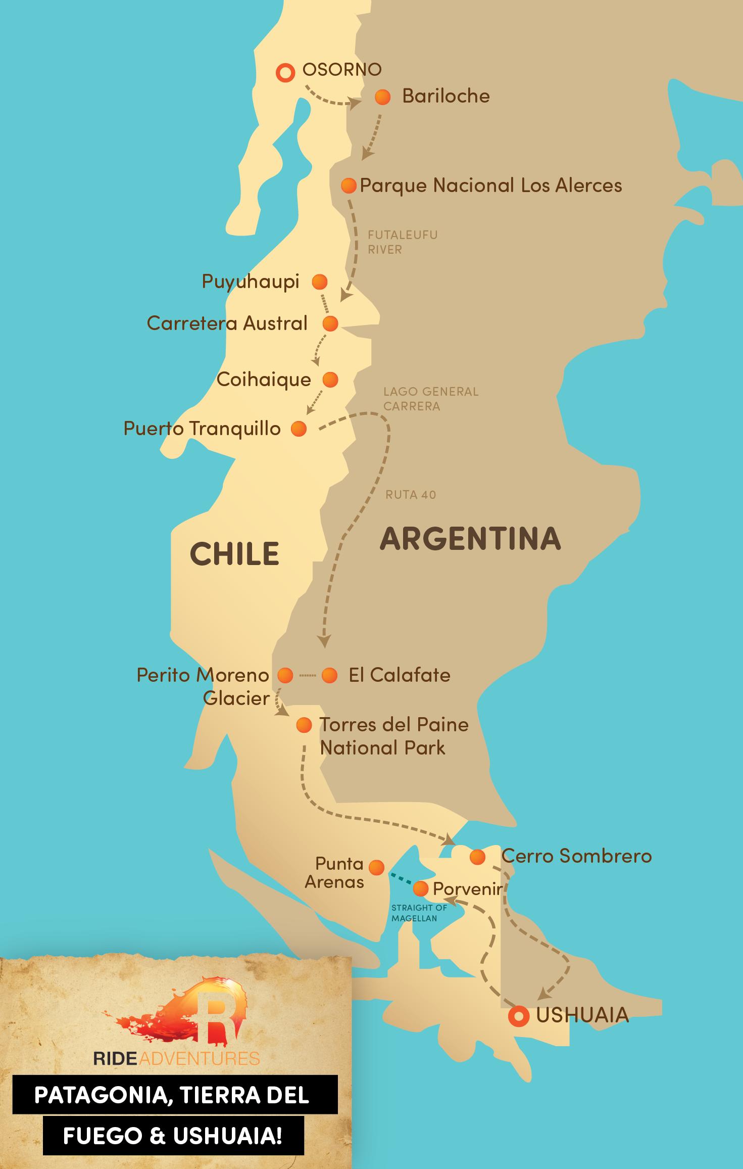 Motorcycle Touring BMWs Patagonia Tierra Del Fuego Ushuaia - Argentina map ushuaia