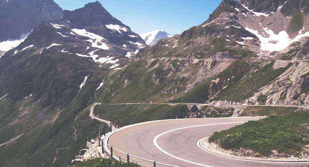 Alps curve road Motorcycle Tour